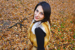 Beautiful girl in beautiful autumn russian forrest Stock Photos