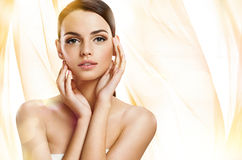 Beautiful girl with beautiful makeup, youth and skin care concept Royalty Free Stock Photos