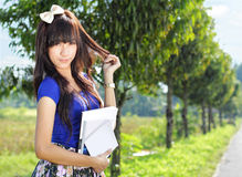 Beautiful girl in beautiful place Royalty Free Stock Images