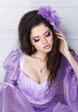 Beautiful girl with beauty makeup, expensive jewelry. portrait o Stock Image
