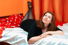 Beautiful girl on bed Royalty Free Stock Image