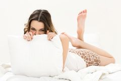 Beautiful girl in the bed Stock Photo
