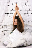Beautiful girl in the bed Stock Photography