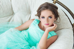 Beautiful girl on the bed stock photo