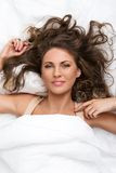 Beautiful girl in the bed Royalty Free Stock Images