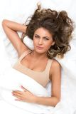 Beautiful girl in the bed Royalty Free Stock Image