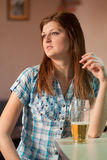 Beautiful girl with a beer Royalty Free Stock Photos