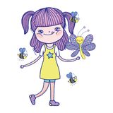 Beautiful girl with bees characters. Vector illustration design stock illustration