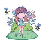 Beautiful girl with bees in the field characters. Characters vector illustration design stock illustration
