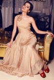 Beautiful girl in beige dress Stock Images