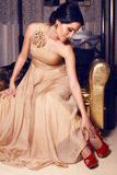 Beautiful girl in beige dress Royalty Free Stock Photos