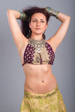 Beautiful girl belly dance movement Royalty Free Stock Image