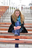 The beautiful girl on a bench Royalty Free Stock Photos