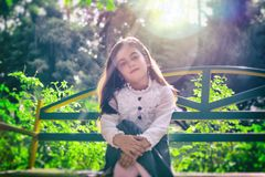 Beautiful, Girl, Bench, Blur Royalty Free Stock Image