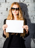 Beautiful girl with big black glasses Royalty Free Stock Photo
