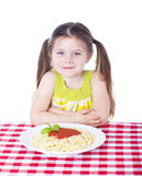 Beautiful girl with big bowl of pasta Royalty Free Stock Image
