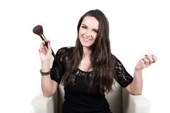 Beautiful girl with big brush and powder Stock Images