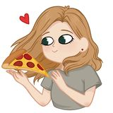 Beautiful girl with big green eyes is going to eat a slice of pi. Zza, favourite food royalty free illustration