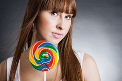 Beautiful girl with big lollipop Royalty Free Stock Photo