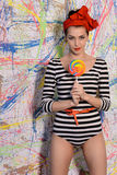 Beautiful girl with big lollipop Stock Photography