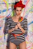 Beautiful girl with big lollipop Stock Photo