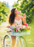 Beautiful Girl on Bike Stock Photography