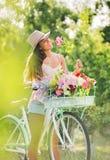 Beautiful Girl on Bike Stock Photos