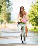 Beautiful Girl on Bike Royalty Free Stock Photo