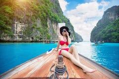 Beautiful girl in bikini on boat. Royalty Free Stock Photos