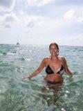 Beautiful girl in bikini in the ocean Royalty Free Stock Image