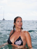 Beautiful girl in bikini in the ocean Royalty Free Stock Images