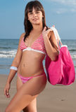 Beautiful girl with bikini at the seaside Stock Images