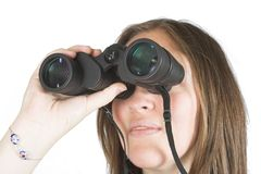Beautiful girl with binoculars Stock Photos