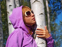 Beautiful girl at birch Royalty Free Stock Photo