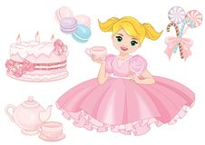Beautiful Girl with a birthday cake stock illustration