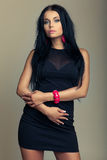 Beautiful girl in black clothes Royalty Free Stock Photos