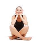 Beautiful girl in black cotton underwear. Sport and health care concept - beautiful girl in black cotton underwear Stock Image