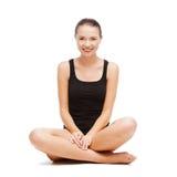 Beautiful girl in black cotton underwear. Sport and health care concept - beautiful girl in black cotton underwear Stock Images