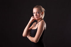 Beautiful girl in black dress Royalty Free Stock Images