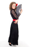 Beautiful girl in black dress dancing carmen Stock Photo