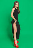 Beautiful girl in a black dress Stock Photography