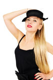 Beautiful girl in a black dress with a hat. Isolated on white background royalty free stock photos