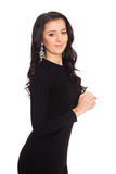 Beautiful girl in black dress isolated on white Stock Image