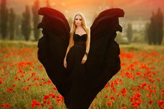 Girl with a bouquet of poppies in black dress stock photo