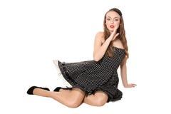 Beautiful girl in black dress Stock Image