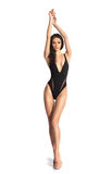 A beautiful girl in a black fashion swimsuit Stock Photography