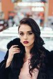 Beautiful girl in a black fur coat. Beauty Fashion Model Girl in Mink Fur Coat. Beautiful Woman in Luxury Brown Fur Jacket . Winter Fashion Stock Photography