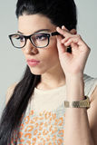 Beautiful Girl with Black Glasses Stock Images