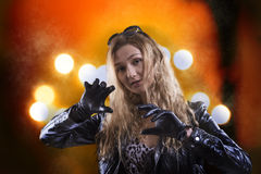 Beautiful girl in black gloves Royalty Free Stock Images