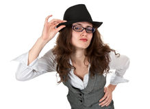 Beautiful girl in the black hat Royalty Free Stock Photography